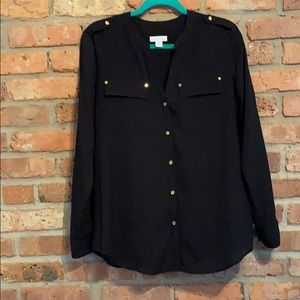 NWOT long sleeve button down black top